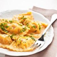 Dyniowe ravioli z łososiem w sosie maślano - cytrynowym